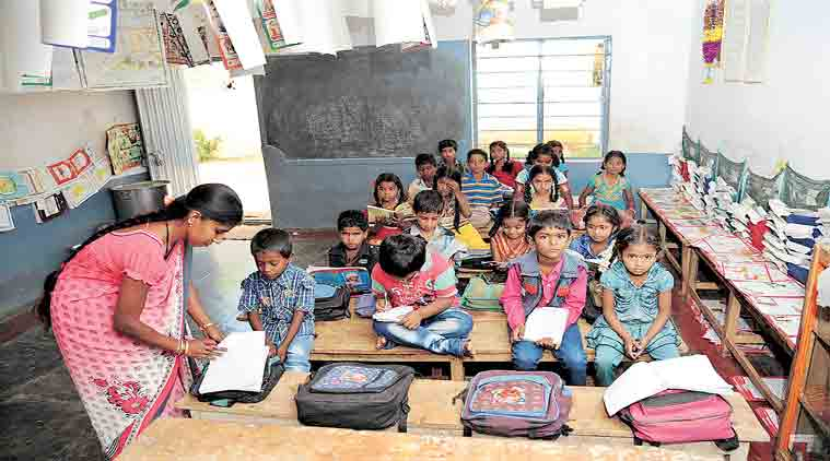 A classroom at the school, where remaining students study. ( Express Photo by: Mohan Kumar B N)