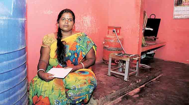 Radhamma in the school kitchen. (Express Photo by: Mohan Kumar B N)