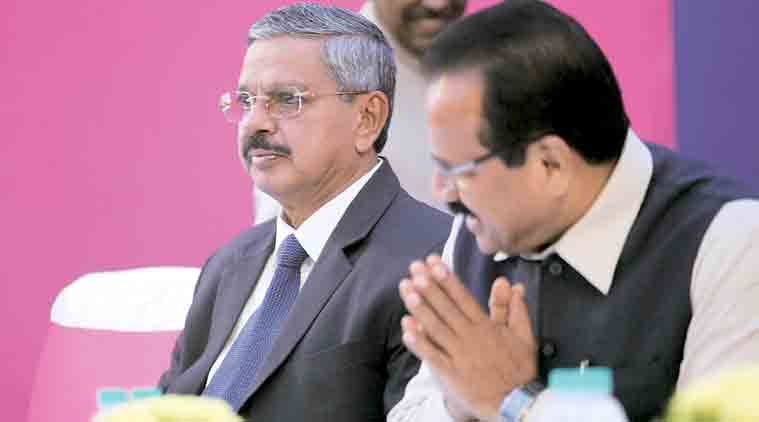 CJI Justice H L Dattu with Union Law Minister D V Sadananda Gowda on Thursday. (Express Photo by: Oinam Anand)