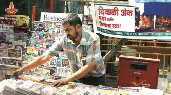 An array of Diwali anks at magazine stalls in Pune. (Source: Express photo by Pavan Khengre)