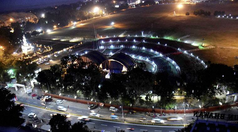 Patna: A view of Gandhi Maidan prepared for oath-taking ceremony of the Nitish Kumar government, in Patna on Thursday