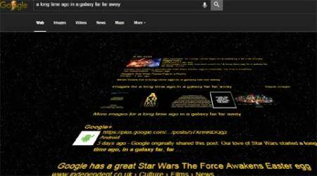 Google Search, Google Search Star Wars, Google Google Star Wars theme, Google 'long long time ago in Galaxy', Google Search results Star Wars style