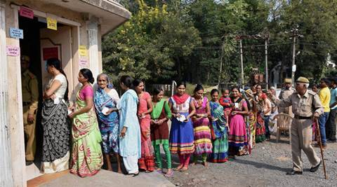 Surat: Village women waiting in the queues to caste their votes during Takula Panchayat Elections in Surat on Sunday. PTI Photo(PTI11_29_2015_000055A)