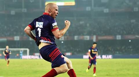 Kolkata: Atletico de Kolkata striker Hume celebrate after scoring goal against FC Pune city during ISL Match in Kolkata on Friday evening.  PTI Photo by Swapan Mahapatra(PTI11_27_2015_000300B)