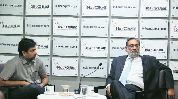 J&K Finance Minister Haseeb Drabu (right) with National Affairs Editor P Vaidyanathan Iyer at The Indian Express office. Amit Mehra