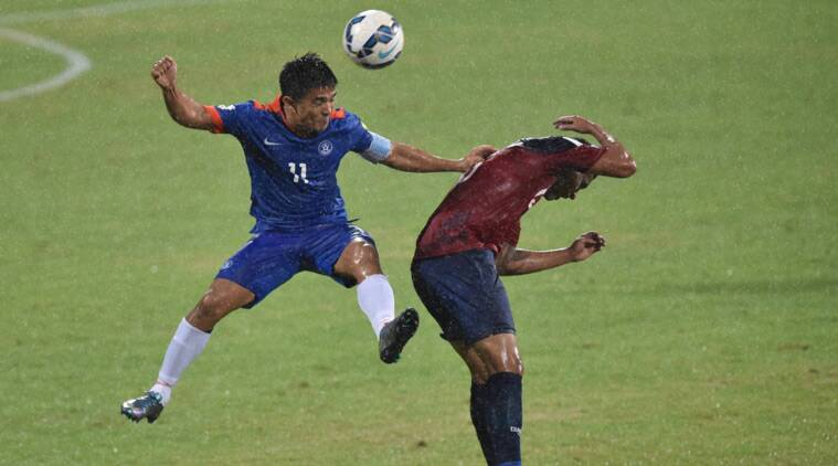 Indian Footballer Sunil Chhetri tussles for the ball during the the Asia Group D FIFA World Cup 2018 qualifying football match between India and Guam at The Sree Kanteerava Stadium in Bengaluru on Thursday. (Source: PTI)