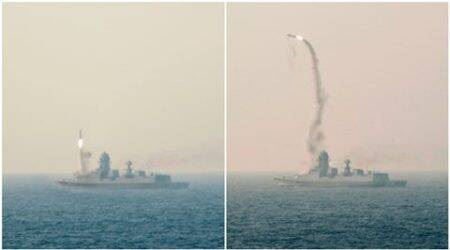BrahMos missile test-fired from Indian Navy's newest ship INS Kochi, hitstarget