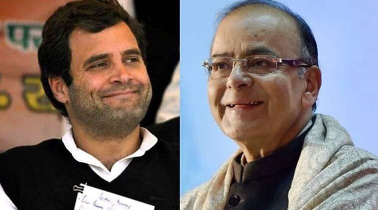 Congress chief Rahul Gandhi and Union Minister Arun Jaitley.