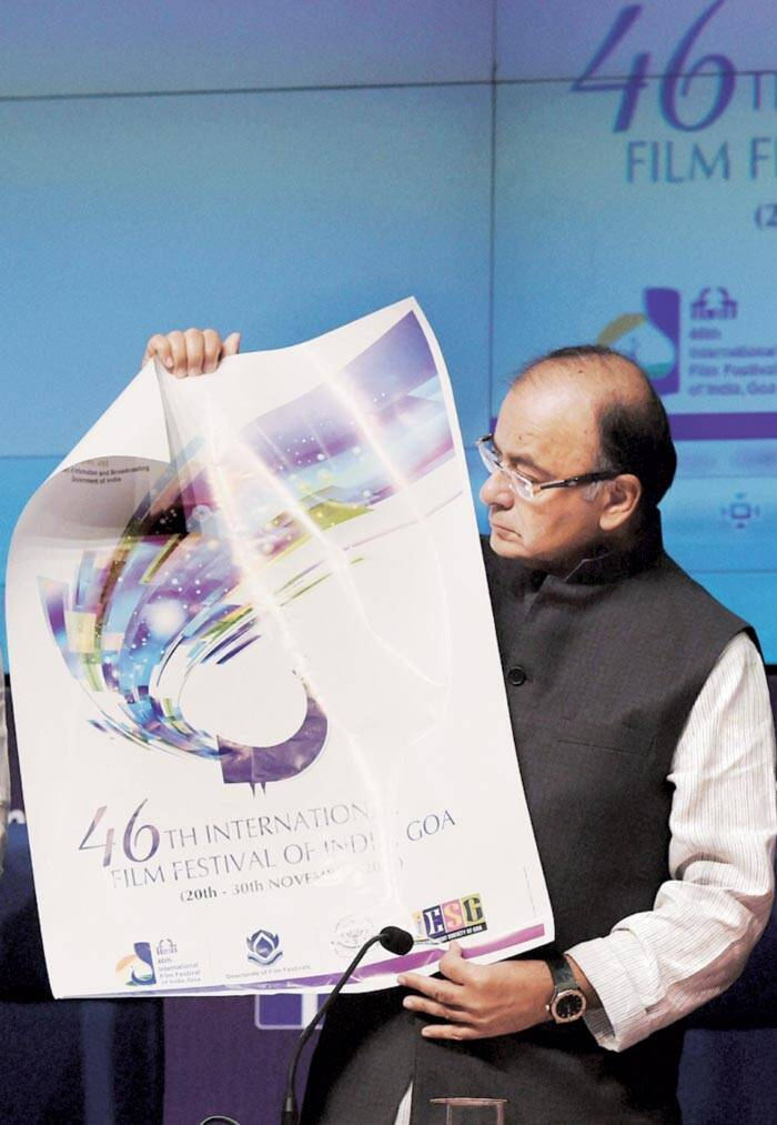 Jaitley with the poster of the film festival on Tuesday. (Source: PTI)