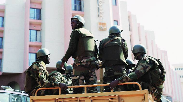 Malian security forces outside the Radisson Blu in Bamako, Mali, after Islamist terrorists stormed the luxury hotel and took hostages on November 20. AP