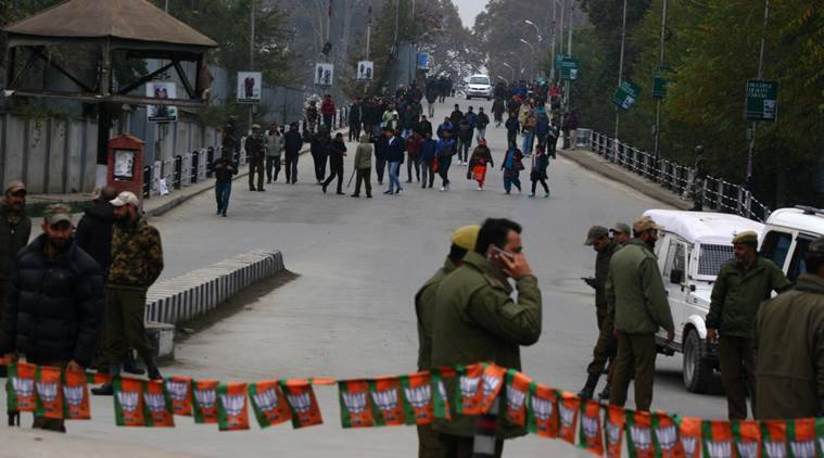 People from other states of the country move toward the Sher-e-Kashmir Cricket Stadium in Srinagar, the venue for the Prime Minister Narendra Modi's rally in Kashmir. Express Photo by Shuaib Masoodi 07-11-2015