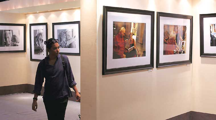 During a photo exhibition, part of  the Kolkata International Film Festival, in Kolkata on Thursday. (Source: Express Photo by Partha Paul)