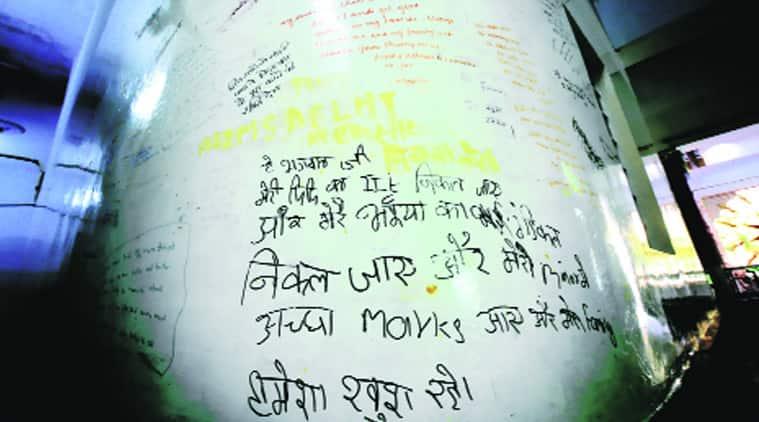 A plea for good marks on the walls of Kota's Radha Krishna temple. Praveen Khanna