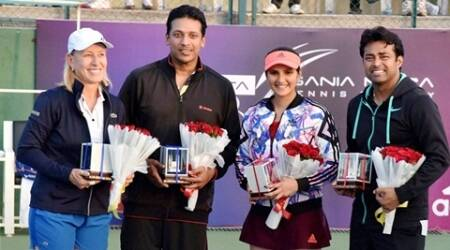Hyderabad: (From left) Tennis Star Martina Navratilova , Mahesh Bhupathi , Sania Mirza and Leander Paes  after their mixed doubles exhibition matche at Sania Mirza Tennis Academy (SMTA) in Hyderabad on Thursday. PTI Photo(PTI11_26_2015_000235B)