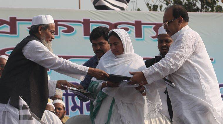 Siddiqullah Chowdhury ,CM Mamata Banerjee and Mayor Sovon Chatterjee during West Bengal State Jamiat-e-Ulama programme  at Shahid Minar , Kolkata on November 26, 2015. Express photo by Partha Paul.