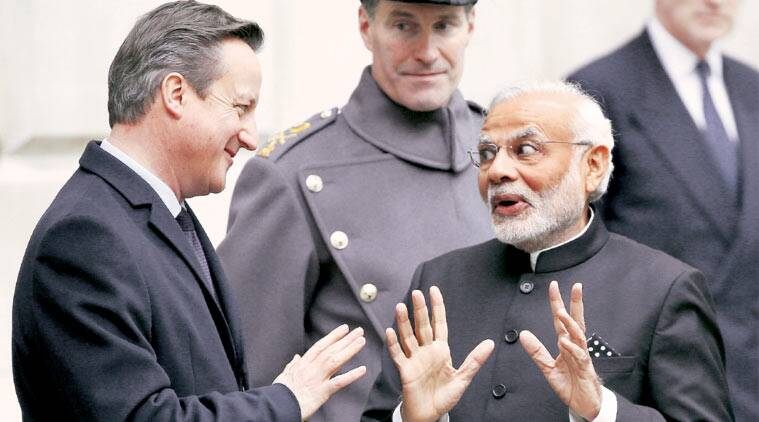 Prime Minister Modi with British counterpart David Cameron in London, Thursday. (Source: Reuters)