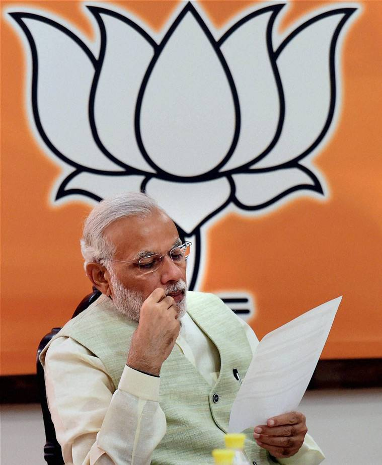Prime Minister Narendra Modi at a parliamentary party meeting called to review their Bihar poll performance. PTI Photo