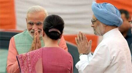 PM Modi discusses GST bill with Manmohan, Sonia at 7 RCR; Cong says demands non-political