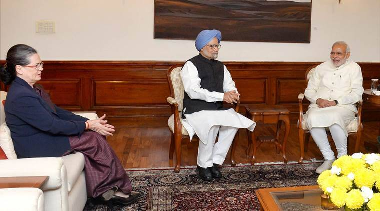 New Delhi: Prime Minister Narendra Modi with former Prime Minister Manmohan Singh and Congress President Sonia Gandhi during a meeting in New Delhi on Friday. PTI Photo (PTI11_27_2015_000287B)