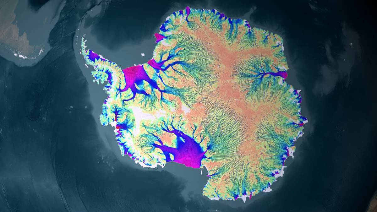 A visualisation of the ice on Antartica. Image: NISAR