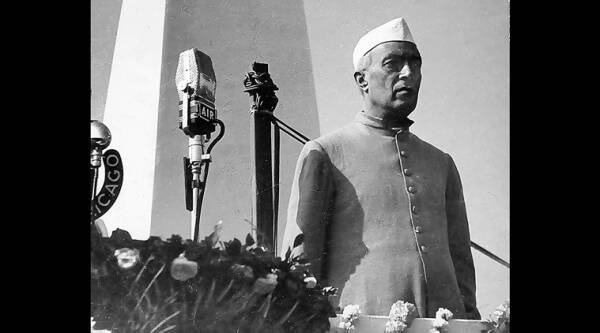 Nehru at the inauguration of Gandhi ghat in Barrackpore. (Source: Habib Rahman)