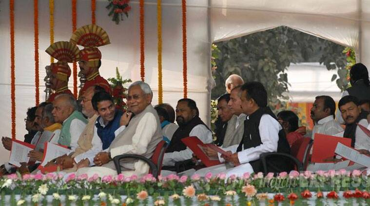 From RJD quota besides Lalu's sons, Abdul Bari Siddiqui, Abdul Gafoor, Vijay Prakash, Chandrika Rai, Alok Kumar Mehta, Ram Vichar Rai, Sheo Chander Ram, Muneshwar Chaudhary, Chandrashekhjar and Anita Devi took oath.Bihar Chief Minister Nitish Kumar with his ministers team after taking oath as Bihar CM for fifth time in Patna. (Source: Express Photo by Prashant Ravi)