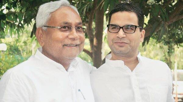 Prashant Kishor with Nitish Kumar. (Express Photo by Prashant Ravi)