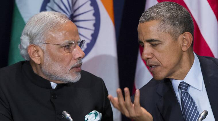 US President Barack Obama, right, meets with Prime Minister Narendra Modi during the COP21, United Nations Climate Change Conference, in Le Bourget, outside Paris, on Monday. (Source: AP photo)