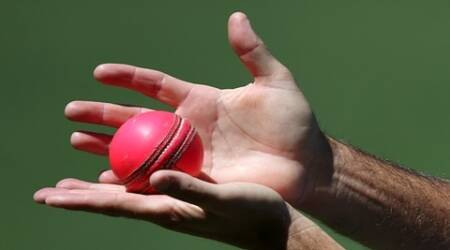 An Australian coaching staff member holds a pink ball during training at the Adelaide Oval ahead of their cricket test against New Zealand in Adelaide, Thursday, Nov. 26, 2015. The test starting Friday will be the first ever day/night cricket test match and will use a new developed pink ball. (AP Photo/Rick Rycroft)