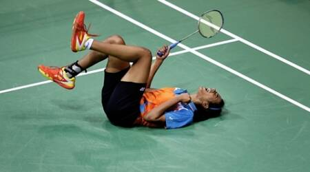 PV Sindhu of India celebrates after won the women's single semi final match against Sayaka Takahashi of Japan during the Thomas and Uber cup final 2014, at Siri fort sports complex, in New Delhi on 23rd 2014. Express photo by Ravi Kanojia.