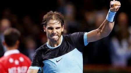 Rafael Nadal of Spain reacts after winning his semi-final match against France'e Richard Gasquet at the Swiss Indoors ATP men's tennis tournament in Basel, Switzerland, October 31, 2015.   REUTERS/Arnd Wiegmann
