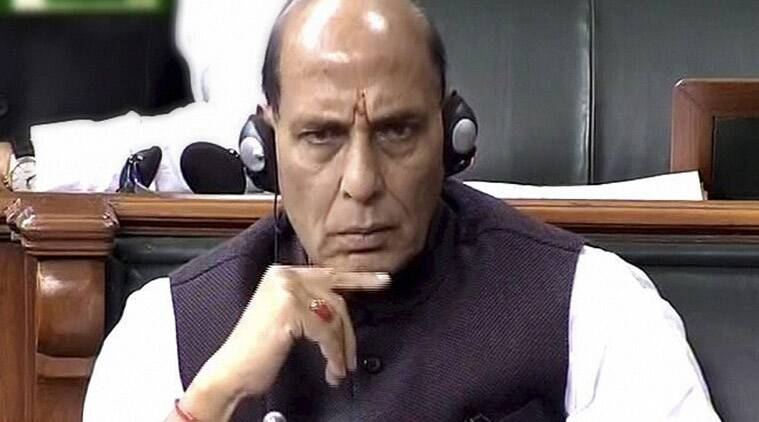 Union Home Minister Rajnath Singh in Lok Sabha during the winter session of Parliament in New Delhi on Monday. (PTI Photo)