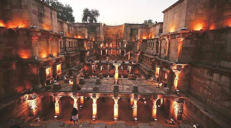 Rani ki Vav, a stepwell lightened up on the eve of World Heritage Week at Patan, Ahmedabad on Thursday. (Source: PTI)