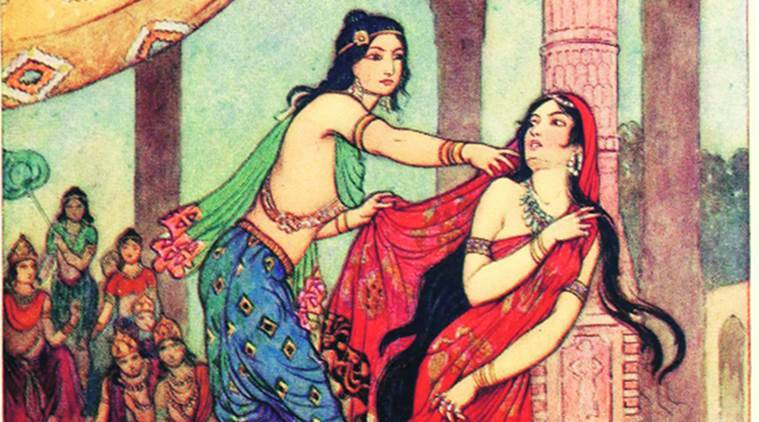 The Ordeal of Draupadi, a painting by the British illustrator Warwick Goble, 1913