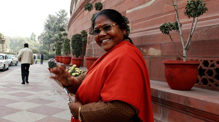 Sadhvi Niranjan Jyoti at the parliament on 9th dec. 2014. Express photo by Renuka Puri.