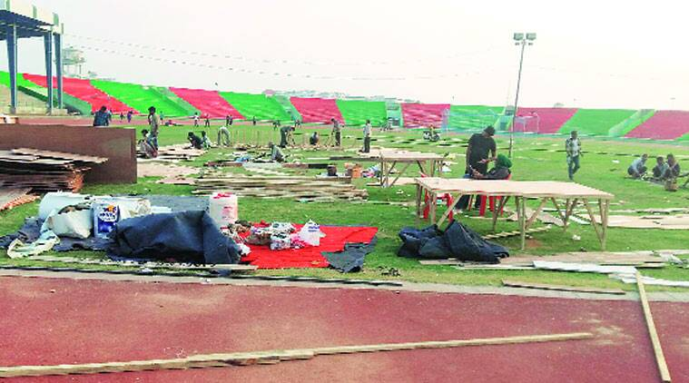 The atlectics stadium being readied for the function on November 21, at Saifai village in Etawah. (Source: Express photo)