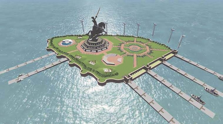 The memorial will boast of the world's tallest statue — a 192-metre equestrian statue of Chhatrapati Shivaji — surrounded by an art museum showcasing artefacts from the Maratha king's era. (Express Photo)