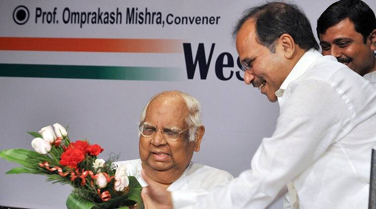 West Bengal Pradesh Congress president Adhir Chowdhury greeting Somnath Chatterjee, veteran CPM leader during the 125th birth anniversary of the country's first prime minister Jawaharlal Nehru in south Kolkata on Saturday. The program organised by WBPCC. (Source: Express)