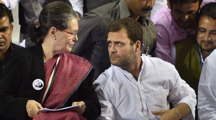Congress President Sonia Gandhi and party Vice President Rahul Gandhi at Youth Congress' national convention to mark the 98th birth anniversary celebrations of former Prime Minister Indira Gandhi in New Delhi on Thursday. (Source: PTI Photo)