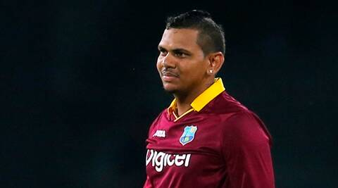 West Indies' Sunil Narine celebrates the dismissal of Sri Lanka's Shehan Jayasuriya during their first one day international cricket match in Colombo, Sri Lanka, Sunday, Nov. 1, 2015. (AP Photo/Eranga Jayawardena)