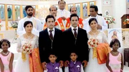 Double the joy: Twin brides, twin grooms, even twin priests!