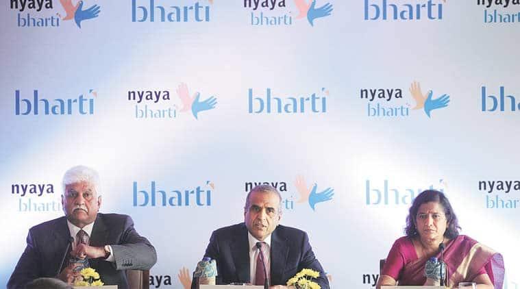 Bharti Enterprises Vice-Chairman Rakesh Bharti Mittal (left), Bharti Enterprises Chairman Sunil Bharti Mittal and Senior Partner & Country Head, Lakshmikumaran and Sridharan, Vijaya Sampath (right) in New Delhi. (Express Photo by: Tashi Tobgyal)