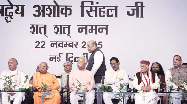 RSS chief Mohan Bhagwat and BJP president Amit Shah along with other BJP and VHP leaders at the function to pay homage to VHP patron Ashok Singhal in New Delhi on Sunday. (Express Photo by: Oinam Anand)