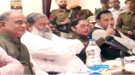 Minister Anil Vij, SP Sangeeta Kalia at the meeting on Friday
