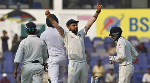 India's captain Virat Kohli celebrates after their win over South Africa on the third day of their third test cricket match in Nagpur, India, November 27, 2015. India beat South Africa by 124 runs in the third test in Nagpur to take an unassailable 2-0 lead in the four-match series on Friday. REUTERS/Amit Dave