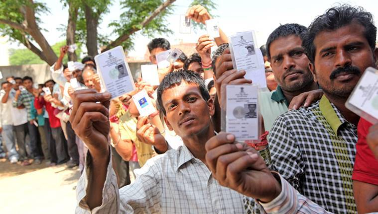 Voters wait for their turn to cast their votes at a polling station in Anandpur Sahib constituency during 7th phase of Lok Sabha Elections 2014 in Badmajra village, District SAS Nagar on Wednesday, April 30 2014. Express photo by Jasbir Malhi