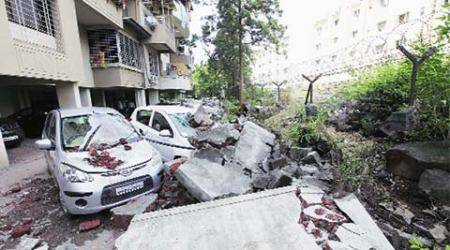 Wall collapse crushes 9 cars at Gagan Vihar Society