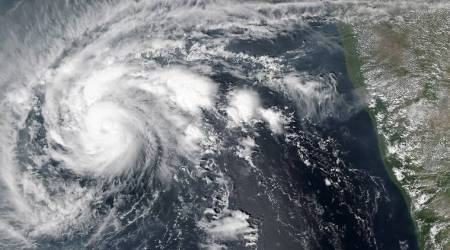 This satellite image captured by NASA on Saturday, Oct. 30, 2015 shows Tropical Cyclone Chapala, is now located approximately 209 nautical miles east northeast of Socotra Island, Yemen. Chapala is expected to make landfall over eastern Yemen between the late evening hours of Monday and early Tuesday. (NASA via AP)