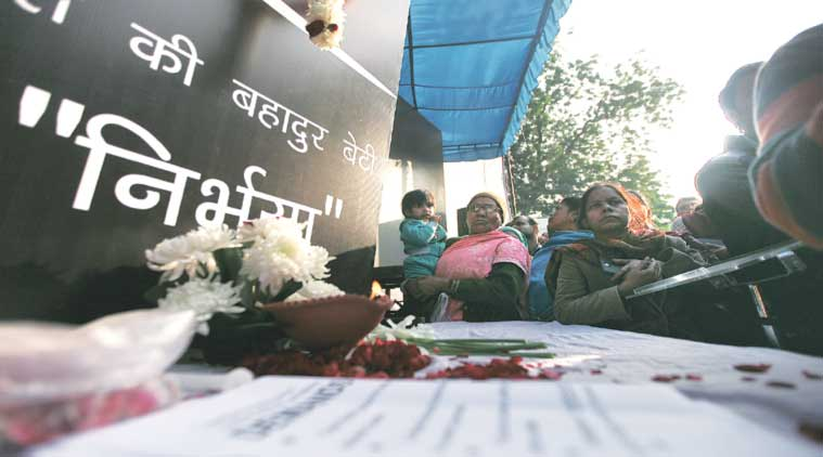 Hundreds gathered at Jantar Mantar Wednesday to remember the December 16 gangrape victim. (Express Photo by: Tashi Tobgyal)
