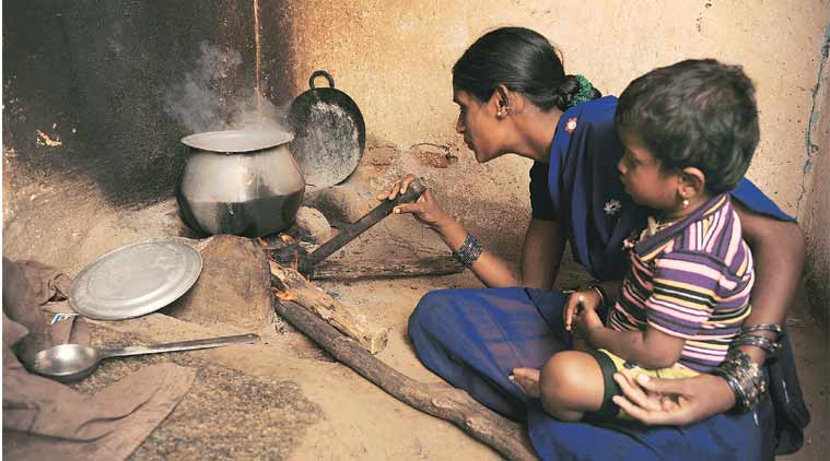 Shantamma is yet to get LPG at her home. (Express Photo by: Dasarath Deka)